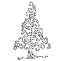 Christmas Tree 2D Flat Swirl design file