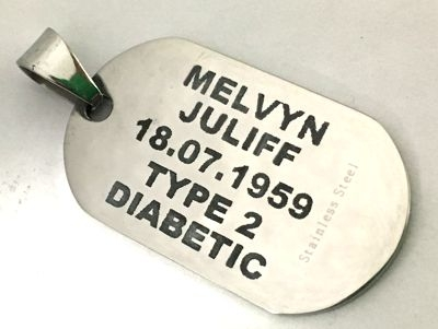 CO2 laser engraved metal diabetic tag